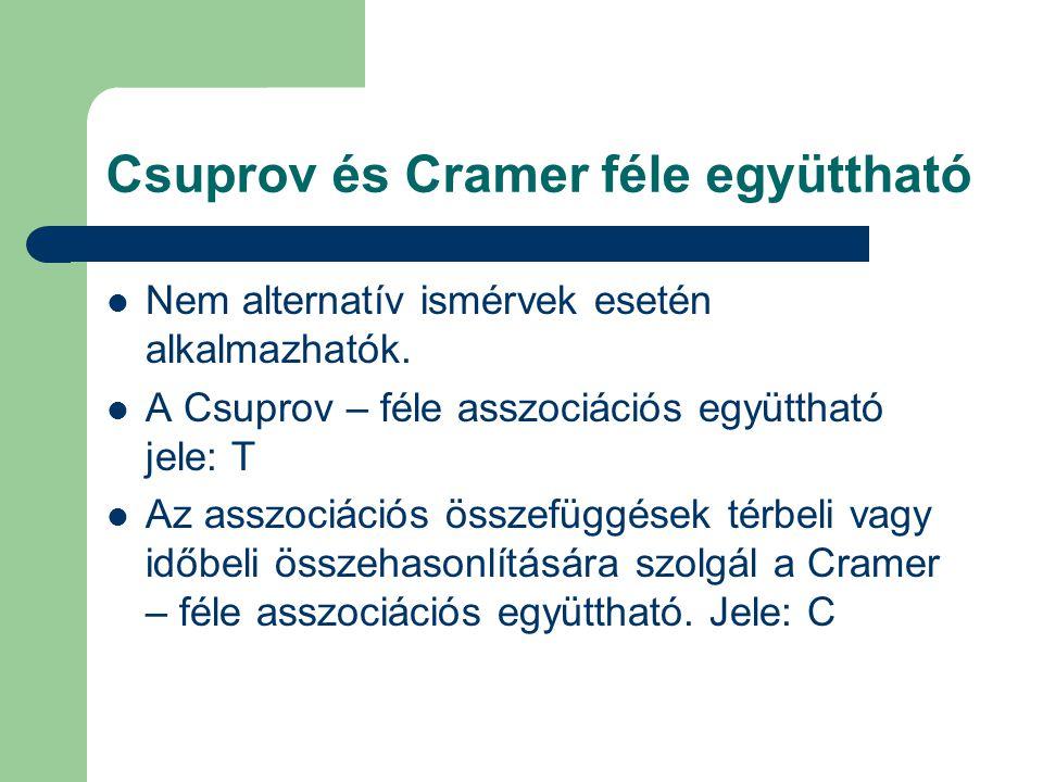 Csuprov és Cramer féle együttható Nem alternatív ismérvek esetén alkalmazhatók. A Csuprov – féle asszociációs együttható jele: T Az asszociációs össze