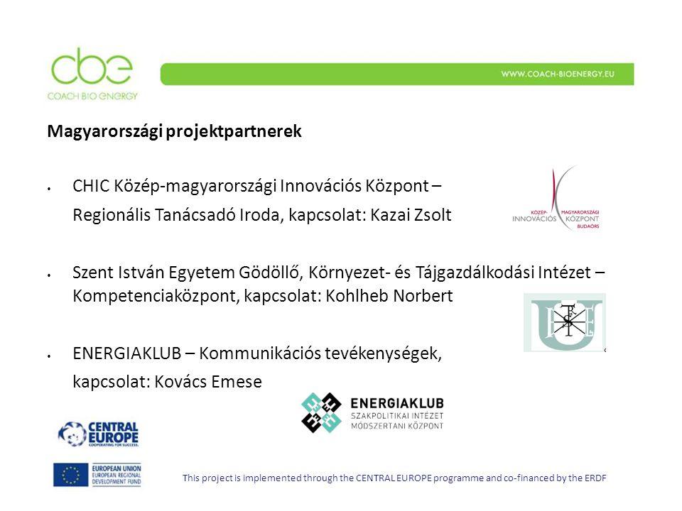 Magyarországi projektpartnerek CHIC Közép-magyarországi Innovációs Központ – Regionális Tanácsadó Iroda, kapcsolat: Kazai Zsolt Szent István Egyetem G