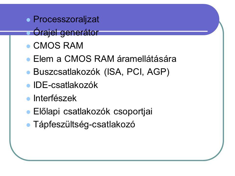 Processzoraljzat Órajel generátor CMOS RAM Elem a CMOS RAM áramellátására Buszcsatlakozók (ISA, PCI, AGP) IDE-csatlakozók Interfészek Előlapi csatlakozók csoportjai Tápfeszültség-csatlakozó