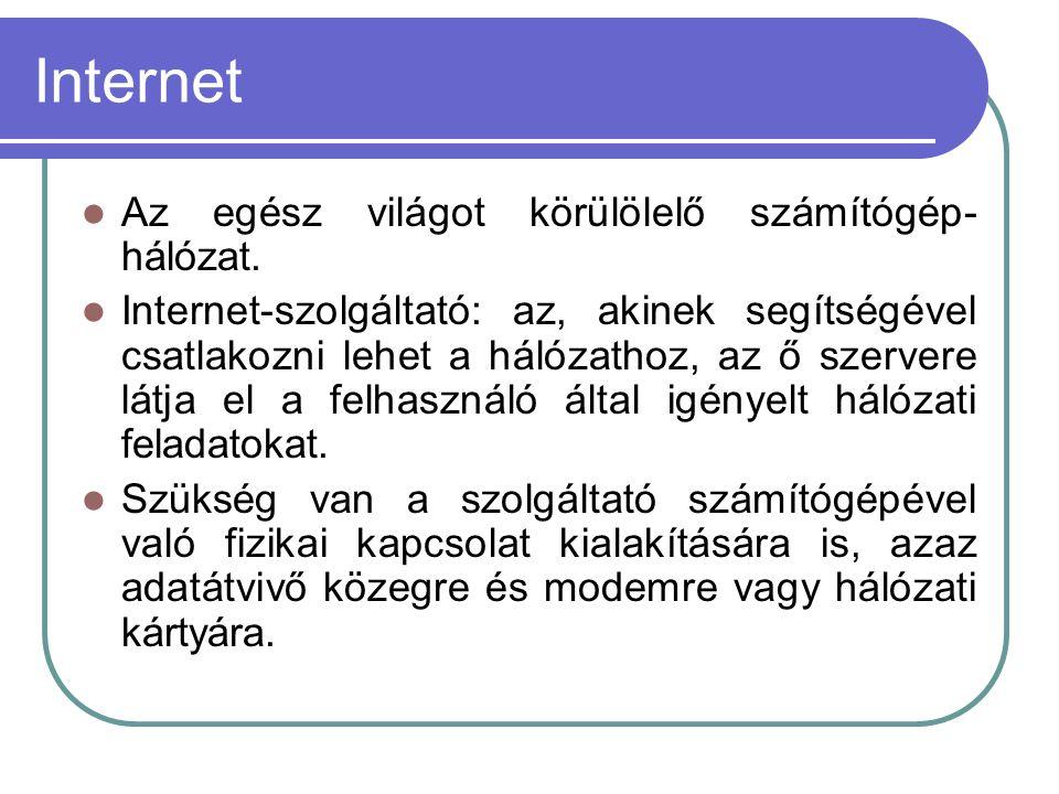 Internet Az egész világot körülölelő számítógép- hálózat.