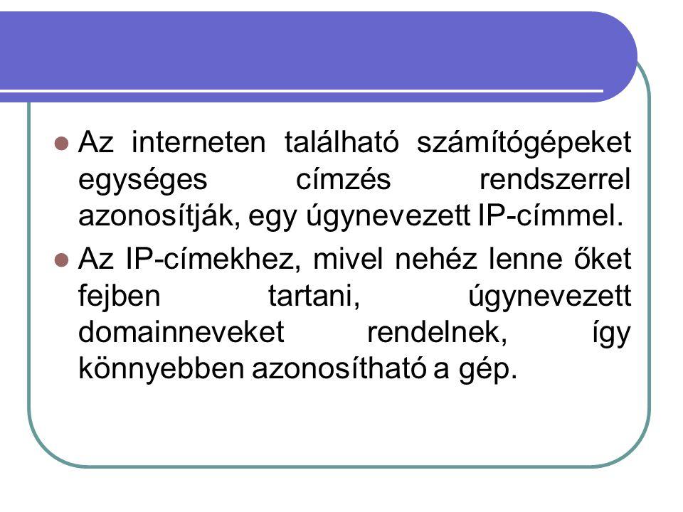 Az interneten található számítógépeket egységes címzés rendszerrel azonosítják, egy úgynevezett IP-címmel.