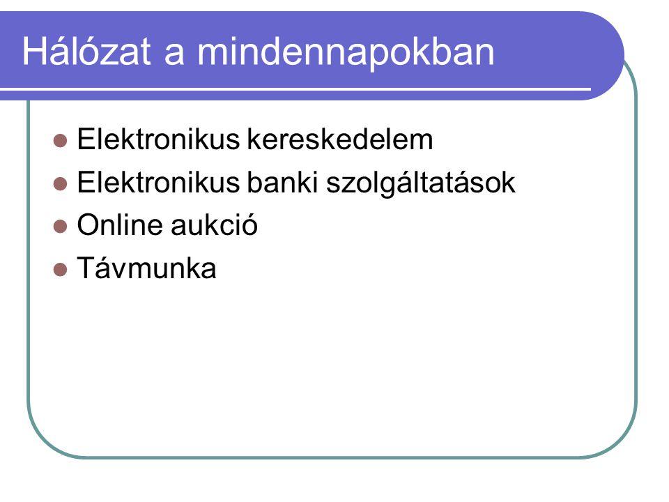 Hálózat a mindennapokban Elektronikus kereskedelem Elektronikus banki szolgáltatások Online aukció Távmunka