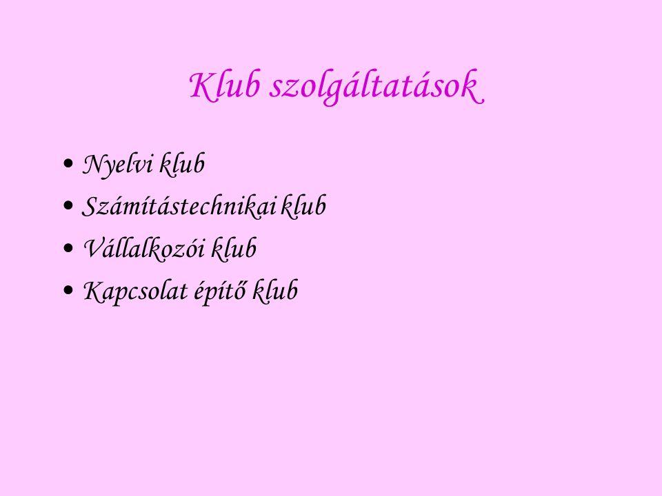Klub szolgáltatások Nyelvi klub Számítástechnikai klub Vállalkozói klub Kapcsolat építő klub