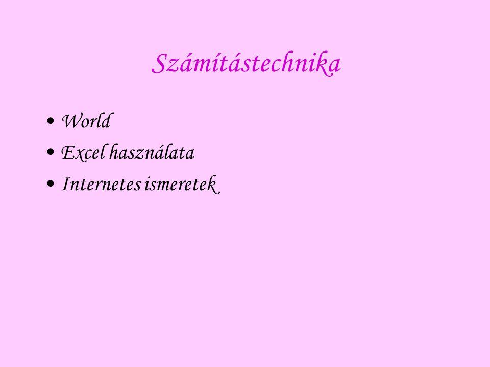 Számítástechnika World Excel használata Internetes ismeretek