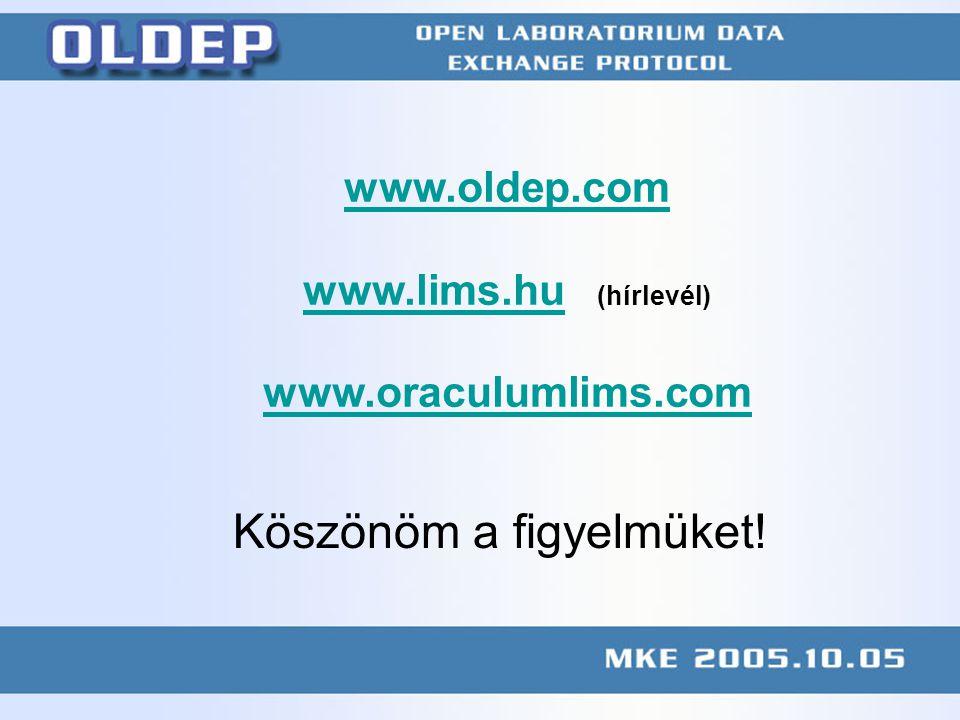 KÖFE megbeszélés 2004.11.10 web.axelero.hu/mc2/publication/041110kofe.ppt www.oldep.com www.lims.huwww.lims.hu (hírlevél) www.oraculumlims.com Köszönöm a figyelmüket!