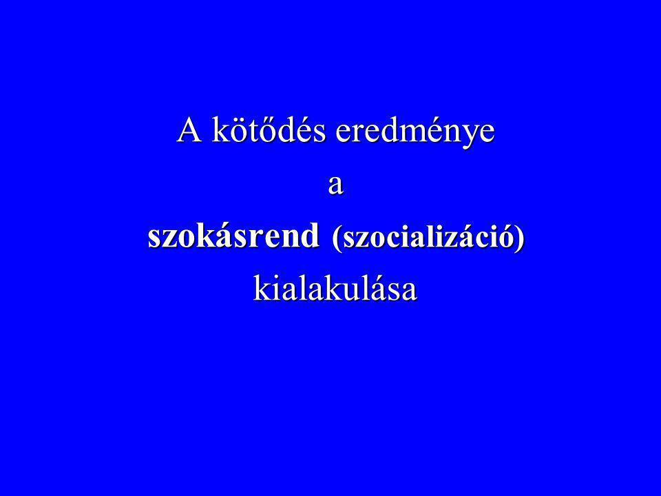 A kötődés eredménye a szokásrend (szocializáció) kialakulása
