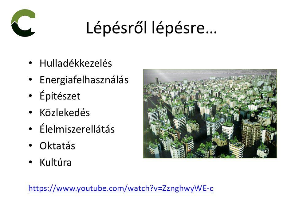 Lépésről lépésre… Hulladékkezelés Energiafelhasználás Építészet Közlekedés Élelmiszerellátás Oktatás Kultúra https://www.youtube.com/watch v=ZznghwyWE-c