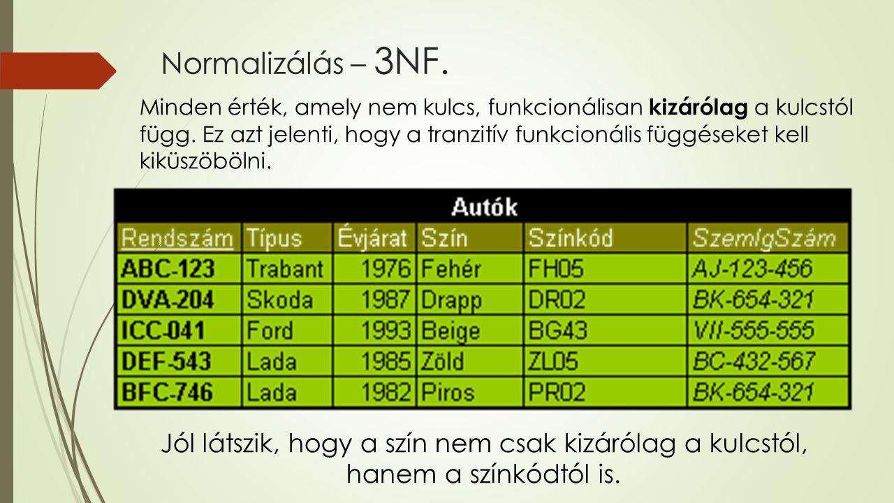 Normalizálás – 3NF. Minden érték, amely nem kulcs, funkcionálisan kizárólag a kulcstól függ. Ez azt jelenti, hogy a tranzitív funkcionális függéseket