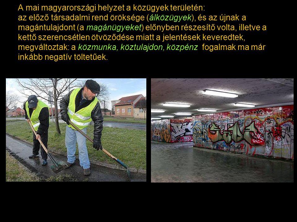 A mai magyarországi helyzet a közügyek területén: az előző társadalmi rend öröksége (álközügyek), és az újnak a magántulajdont (a magánügyeket) előnyben részesítő volta, illetve a kettő szerencsétlen ötvöződése miatt a jelentések keveredtek, megváltoztak: a közmunka, köztulajdon, közpénz fogalmak ma már inkább negatív töltetűek.