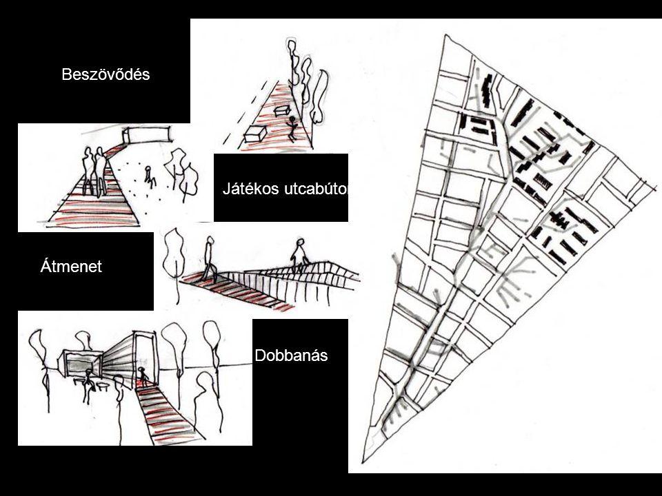 Beszövődés Játékos utcabútorzat Átmenet Dobbanás Lehetőség Élettér - Jelkép