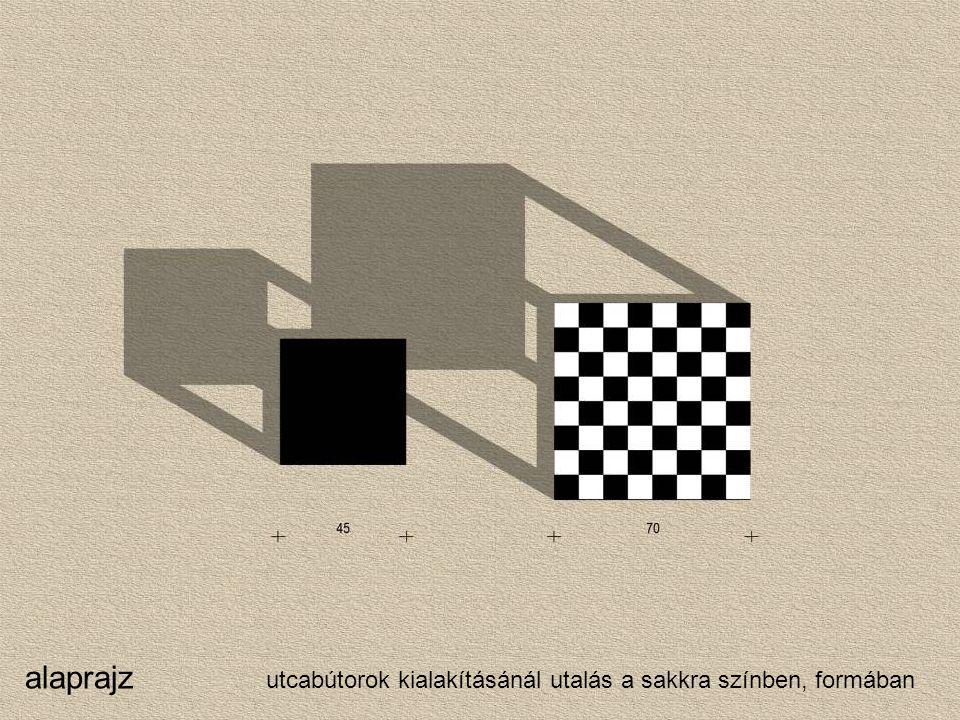 alaprajz utcabútorok kialakításánál utalás a sakkra színben, formában