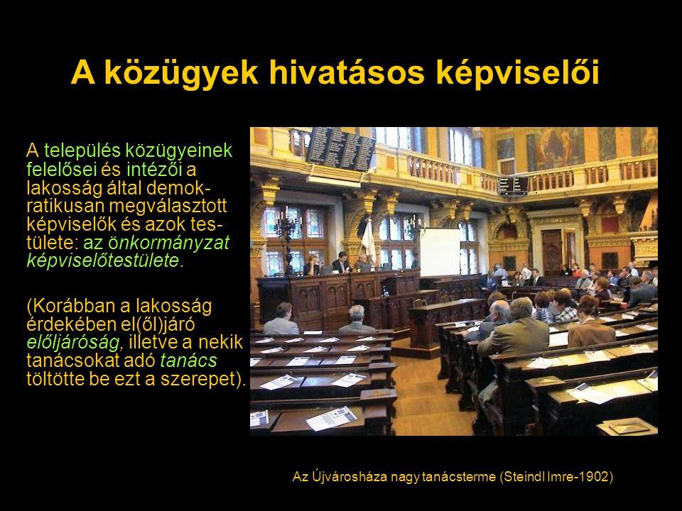 A település közügyeinek felelősei és intézői a lakosság által demok- ratikusan megválasztott képviselők és azok tes- tülete: az önkormányzat képviselőtestülete.