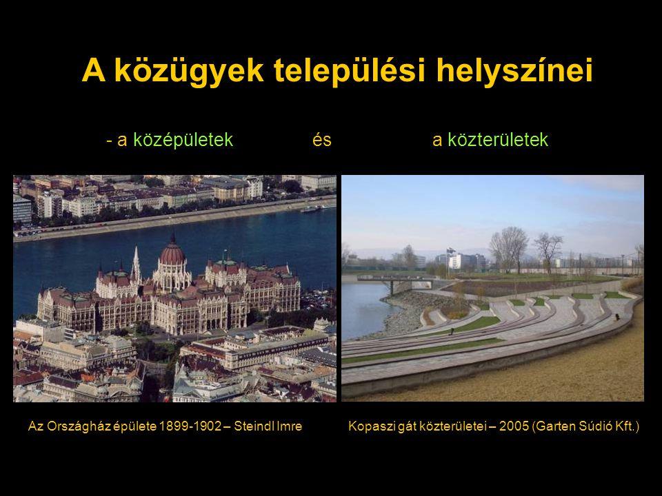 A közügyek települési helyszínei - a középületek ésa közterületek Az Országház épülete 1899-1902 – Steindl Imre Kopaszi gát közterületei – 2005 (Garten Súdió Kft.)