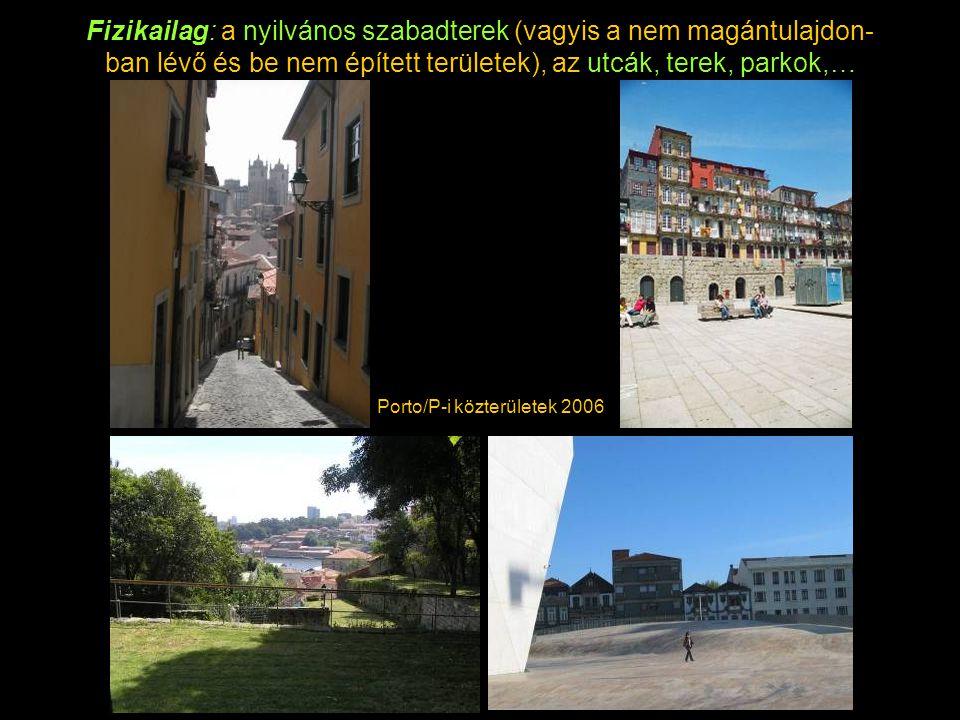 Fizikailag: a nyilvános szabadterek (vagyis a nem magántulajdon- ban lévő és be nem épített területek), az utcák, terek, parkok,… Porto/P-i közterületek 2006