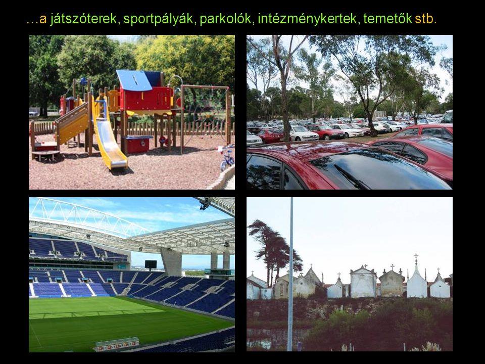 …a játszóterek, sportpályák, parkolók, intézménykertek, temetők stb.