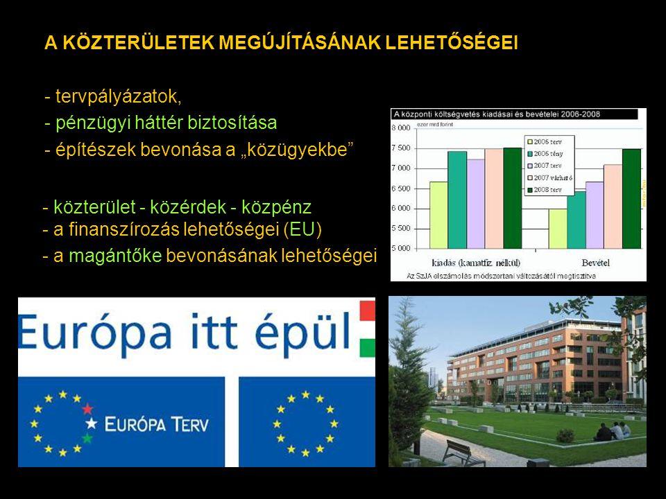 """- közterület - közérdek - közpénz - a finanszírozás lehetőségei (EU) - a magántőke bevonásának lehetőségei A KÖZTERÜLETEK MEGÚJÍTÁSÁNAK LEHETŐSÉGEI - tervpályázatok, - pénzügyi háttér biztosítása - építészek bevonása a """"közügyekbe"""
