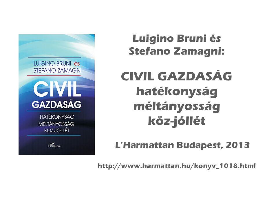 Luigino Bruni és Stefano Zamagni: CIVIL GAZDASÁG hatékonyság méltányosság köz-jóllét L'Harmattan Budapest, 2013 http://www.harmattan.hu/konyv_1018.html