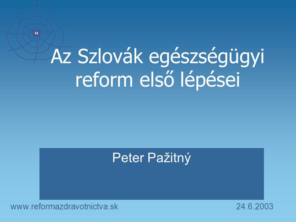 24.6.2003www.reformazdravotnictva.sk Az Szlovák egészségügyi reform első lépései Peter Pažitný