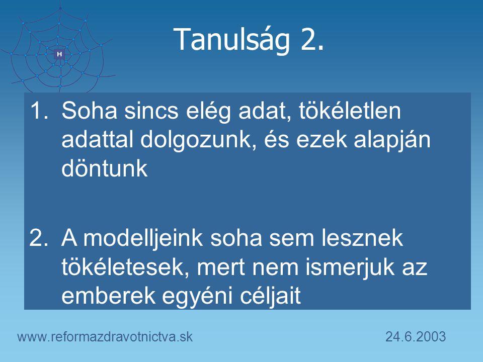 24.6.2003www.reformazdravotnictva.sk Tanulság 2. 1.Soha sincs elég adat, tökéletlen adattal dolgozunk, és ezek alapján döntunk 2.A modelljeink soha se