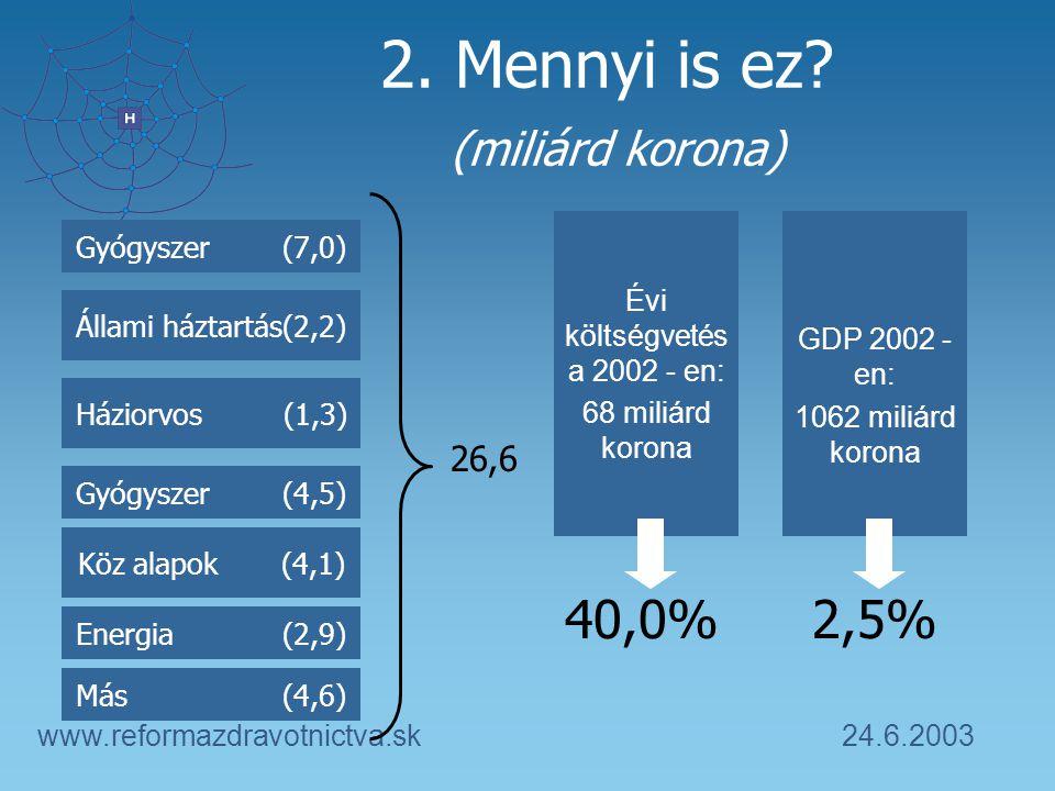 24.6.2003www.reformazdravotnictva.sk 2. Mennyi is ez.