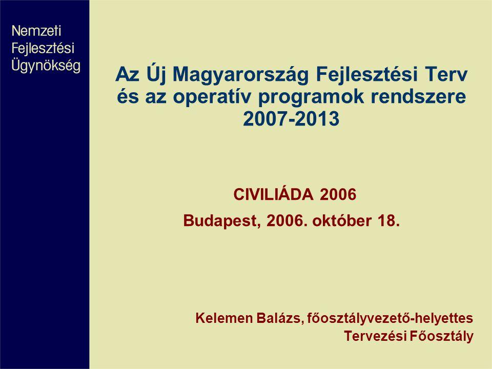 Az Új Magyarország Fejlesztési Terv és az operatív programok rendszere 2007-2013 CIVILIÁDA 2006 Budapest, 2006.