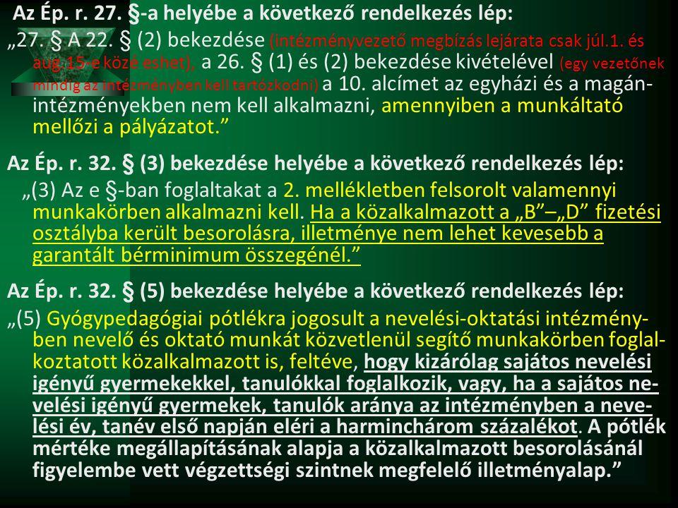 """Az Ép. r. 27. §-a helyébe a következő rendelkezés lép: """"27. § A 22. § (2) bekezdése (intézményvezető megbízás lejárata csak júl.1. és aug.15-e közé es"""