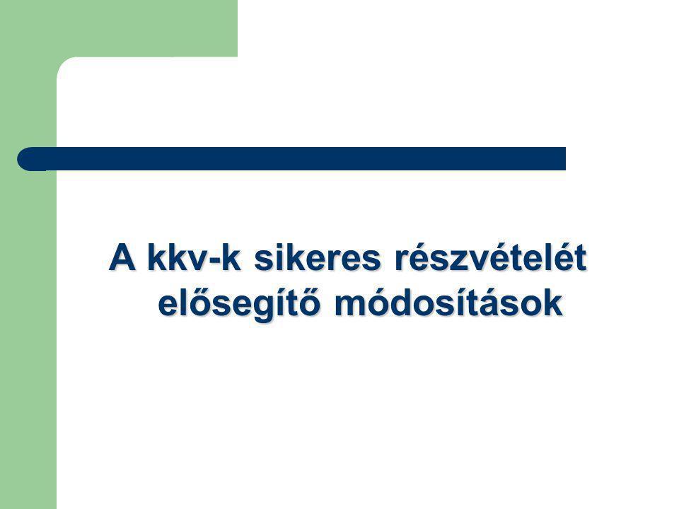 A kkv-k sikeres részvételét elősegítő módosítások