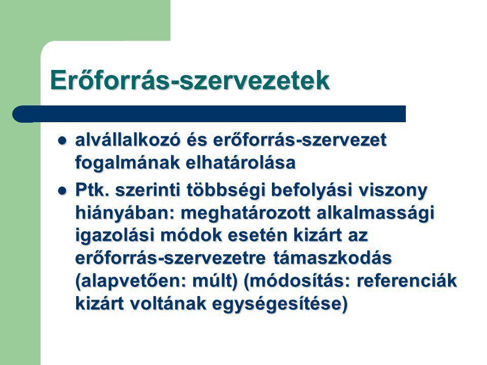 Erőforrás-szervezetek alvállalkozó és erőforrás-szervezet fogalmának elhatárolása alvállalkozó és erőforrás-szervezet fogalmának elhatárolása Ptk.