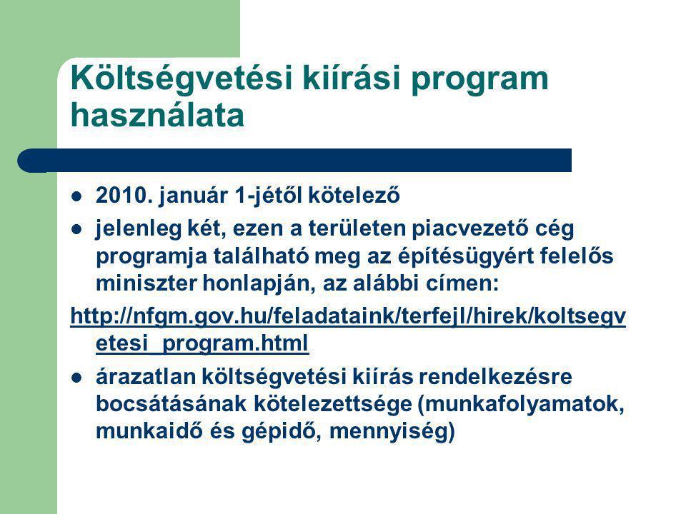 Költségvetési kiírási program használata 2010.