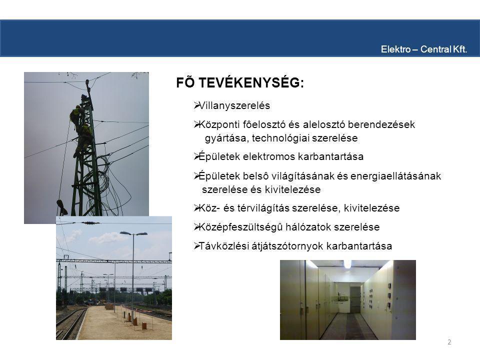 2 FÕ TEVÉKENYSÉG: Elektro – Central Kft.