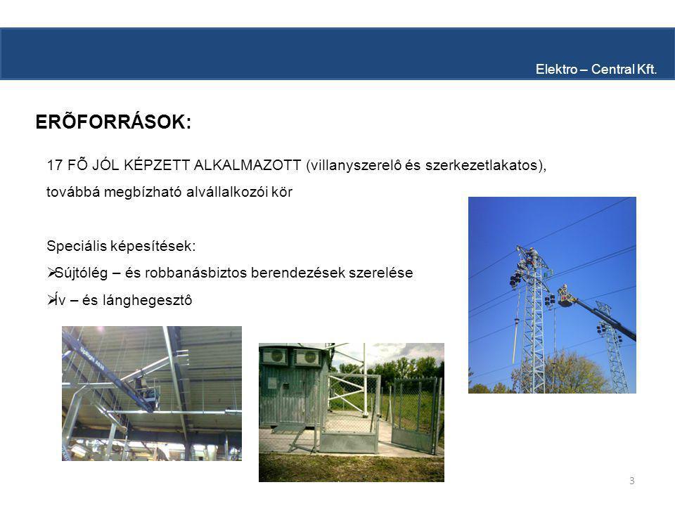 3 ERÕFORRÁSOK: Elektro – Central Kft.