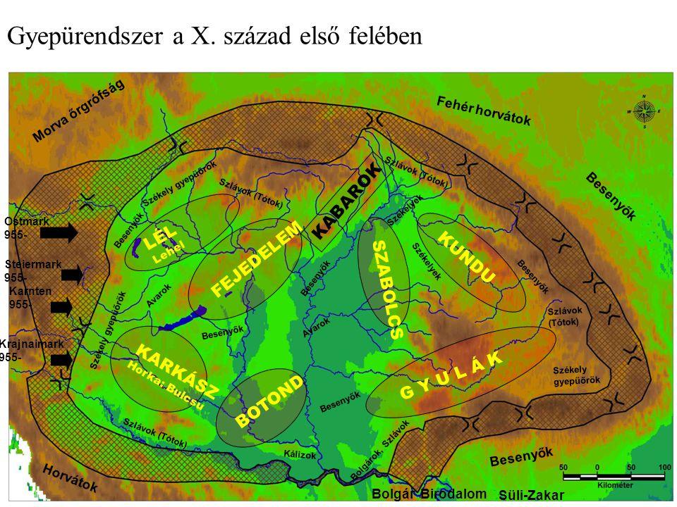 Bolgár Birodalom Besenyők Fehér horvátok Horvátok Morva őrgrófság Ostmark 955- Steiermark 955- Karnten 955- Krajnaimark 955- LÉL Lehel KARKÁSZ Horka: