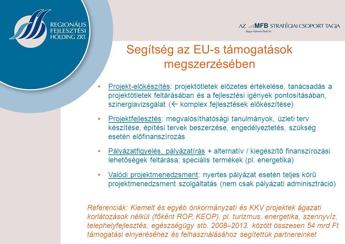 Segítség az EU-s támogatások megszerzésében Projekt-előkészítés: projektötletek előzetes értékelése, tanácsadás a projektötletek feltárásában és a fejlesztési igények pontosításában, szinergiavizsgálat (  komplex fejlesztések előkészítése) Projektfejlesztés: megvalósíthatósági tanulmányok, üzleti terv készítése, építési tervek beszerzése, engedélyeztetés, szükség esetén előfinanszírozás Pályázatfigyelés, pályázatírás + alternatív / kiegészítő finanszírozási lehetőségek feltárása; speciális termékek (pl.
