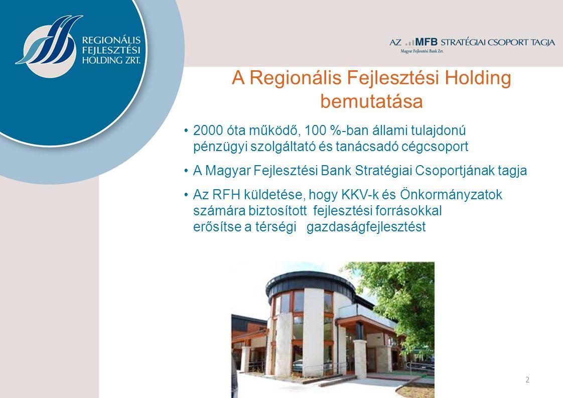 2000 óta működő, 100 %-ban állami tulajdonú pénzügyi szolgáltató és tanácsadó cégcsoport A Magyar Fejlesztési Bank Stratégiai Csoportjának tagja Az RFH küldetése, hogy KKV-k és Önkormányzatok számára biztosított fejlesztési forrásokkal erősítse a térségi gazdaságfejlesztést 2 A Regionális Fejlesztési Holding bemutatása
