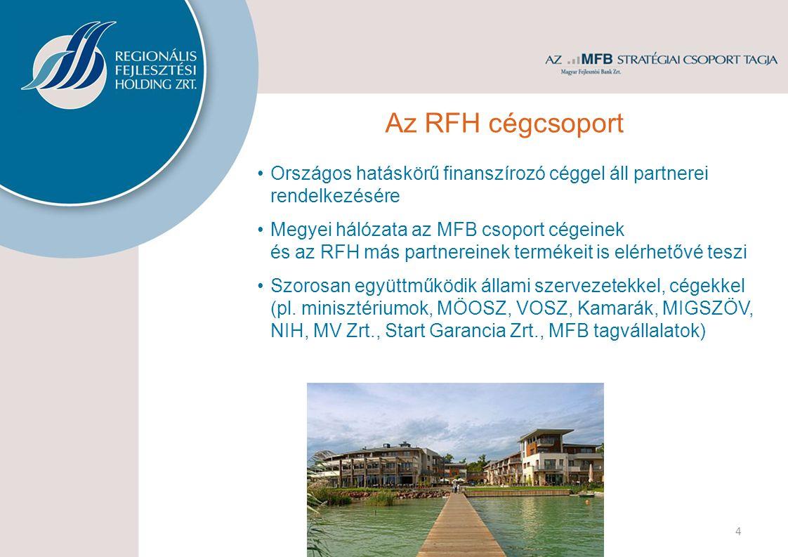 4 Országos hatáskörű finanszírozó céggel áll partnerei rendelkezésére Megyei hálózata az MFB csoport cégeinek és az RFH más partnereinek termékeit is elérhetővé teszi Szorosan együttműködik állami szervezetekkel, cégekkel (pl.