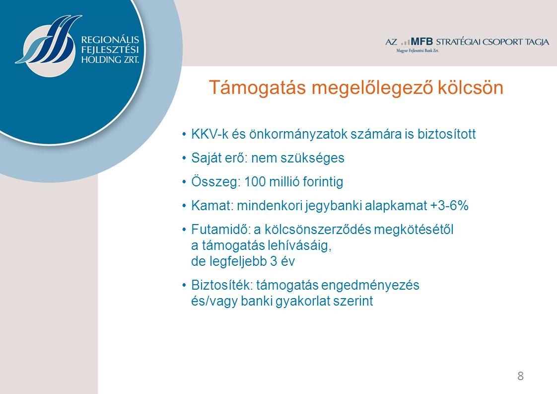 KKV-k és önkormányzatok számára is biztosított Saját erő: nem szükséges Összeg: 100 millió forintig Kamat: mindenkori jegybanki alapkamat +3-6% Futamidő: a kölcsönszerződés megkötésétől a támogatás lehívásáig, de legfeljebb 3 év Biztosíték: támogatás engedményezés és/vagy banki gyakorlat szerint 8 Támogatás megelőlegező kölcsön
