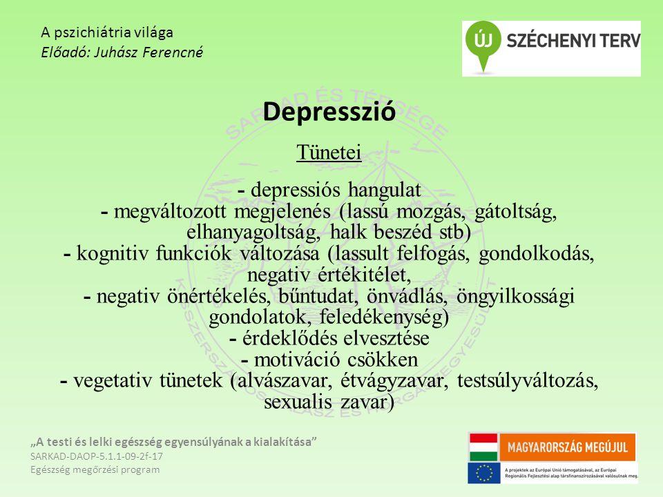 Depresszió Tünetei - depressiós hangulat - megváltozott megjelenés (lassú mozgás, gátoltság, elhanyagoltság, halk beszéd stb) - kognitiv funkciók vált