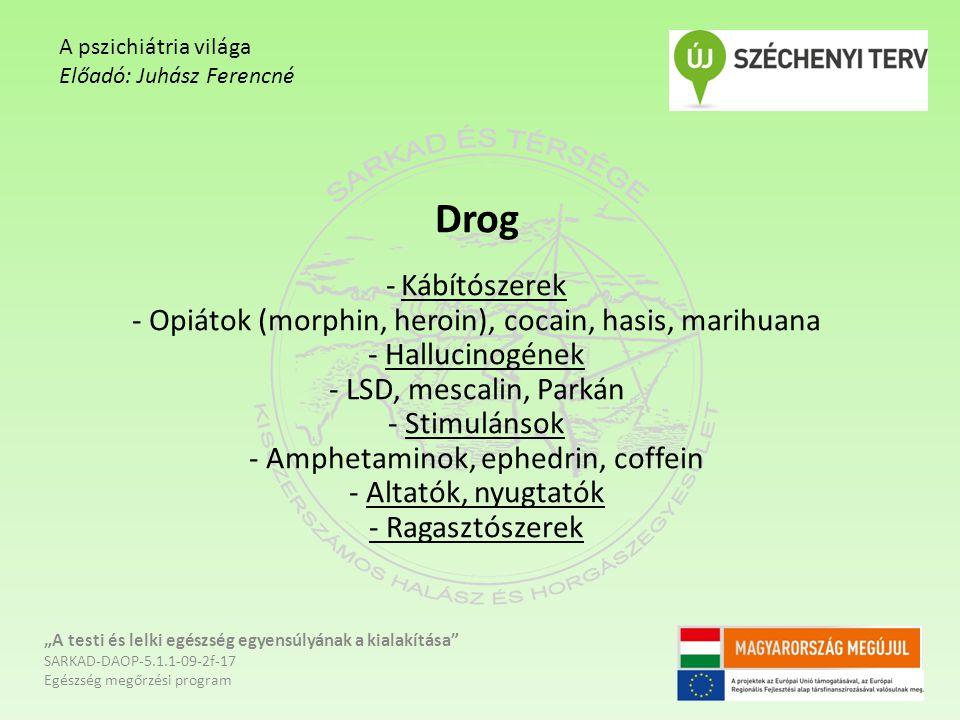Drog - Kábítószerek - Opiátok (morphin, heroin), cocain, hasis, marihuana - Hallucinogének - LSD, mescalin, Parkán - Stimulánsok - Amphetaminok, ephed