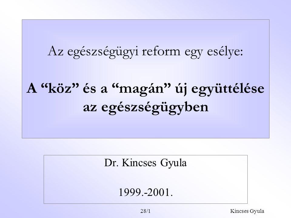 Kincses Gyula28/1 Az egészségügyi reform egy esélye: A köz és a magán új együttélése az egészségügyben Dr.