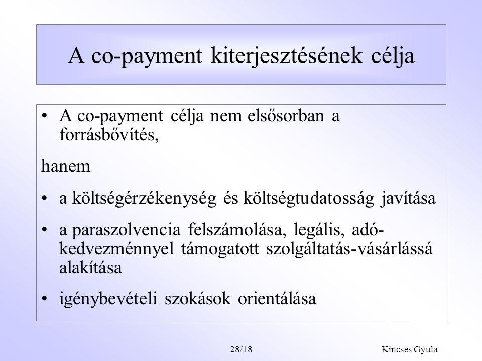 """Kincses Gyula28/17 A javasolt modell lényege Jelen helyzet Magán invesztíció, magán finanszírozás Köz invesztíció, köz- finanszírozás Magán invesztíció, vegyes finanszírozás """"Public egészségügy Privát egészségügy TB ellátási csomag Alapvető ellátások Javasolt modell 80-90% 120-130 % TB I.+II."""