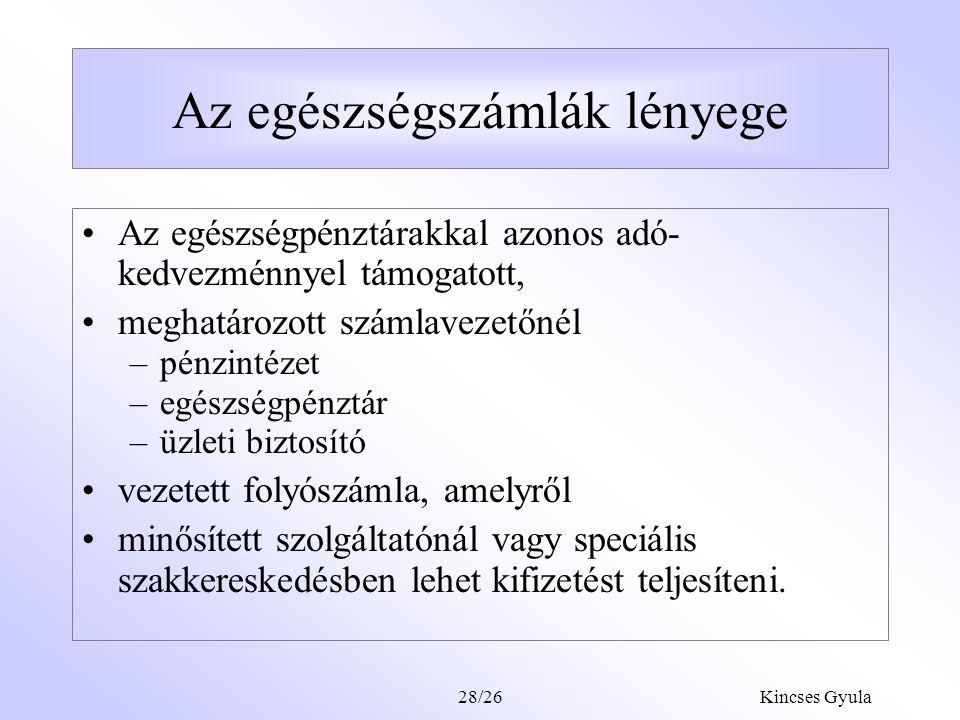 Kincses Gyula28/25 Javaslat a magánfinanszírozás szervezeti átalakítására Az Egészség számlák rendszerének bevezetése (MSA magyar adaptációja) Az egés