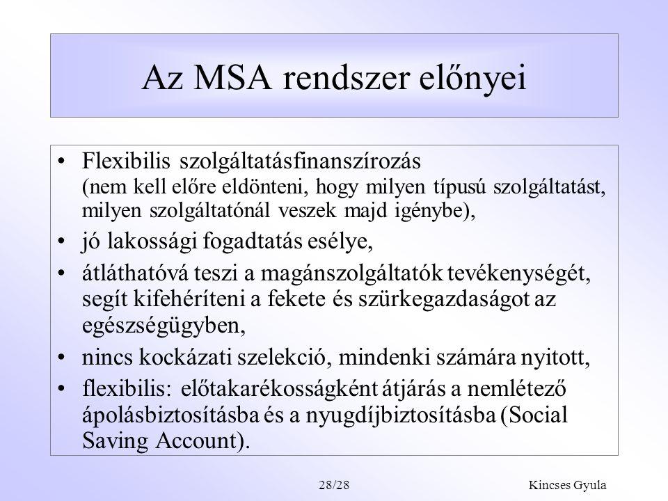Kincses Gyula28/27 Az egészségszámlák lehetséges szolgáltatásai Természetbeni egészségügyi szolgáltatások  Társadalombiztosítás által finanszírozott ellátás kötelező önrésze  Társadalombiztosítás által finanszírozott ellátás mellé önként fizetett kiegészítő díj (hotel, külön étkezés, stb.) –Társadalombiztosítás által nem finanszírozott szolgáltatónál igénybevett szolgáltatások.