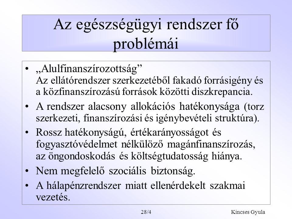 Kincses Gyula28/3 Satus preasens A lakosság egészségi állapota rosszabb, mint ami az ország helyzetéből következik. Az egészségügy belső feszültségei
