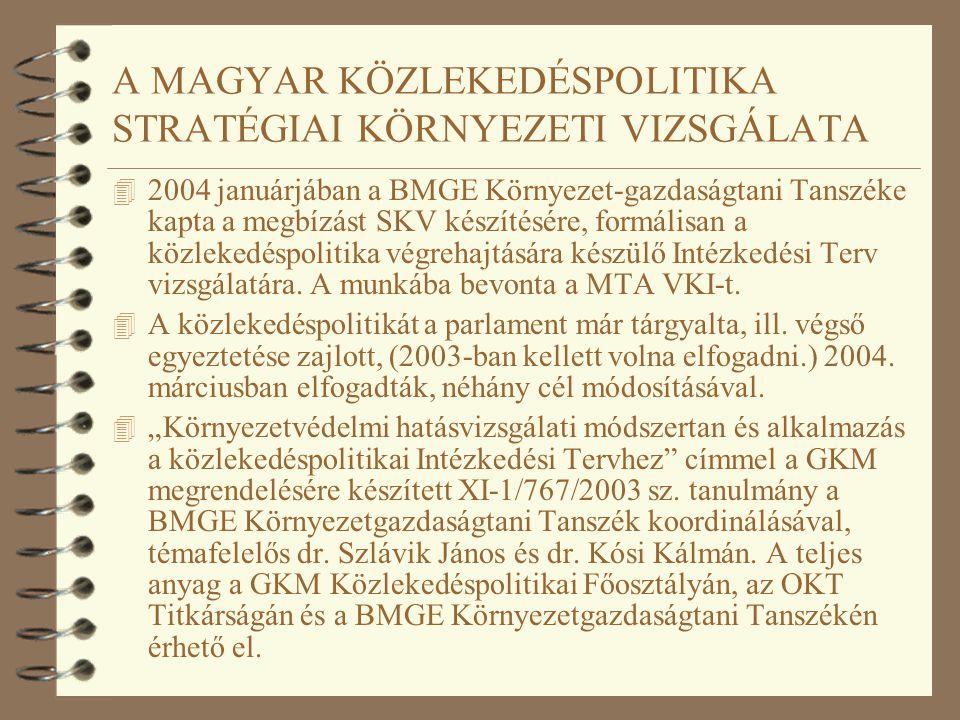 A MAGYAR KÖZLEKEDÉSPOLITIKA STRATÉGIAI KÖRNYEZETI VIZSGÁLATA 4 2004 januárjában a BMGE Környezet-gazdaságtani Tanszéke kapta a megbízást SKV készítésé