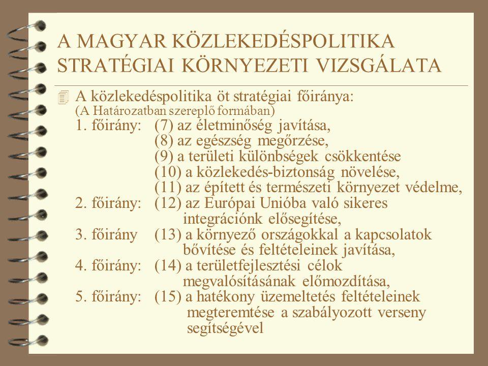 A MAGYAR KÖZLEKEDÉSPOLITIKA STRATÉGIAI KÖRNYEZETI VIZSGÁLATA 4 A közlekedéspolitika öt stratégiai főiránya: (A Határozatban szereplő formában) 1. főir