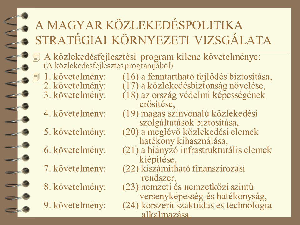 A MAGYAR KÖZLEKEDÉSPOLITIKA STRATÉGIAI KÖRNYEZETI VIZSGÁLATA 4 A közlekedésfejlesztési program kilenc követelménye: (A közlekedésfejlesztés programjáb