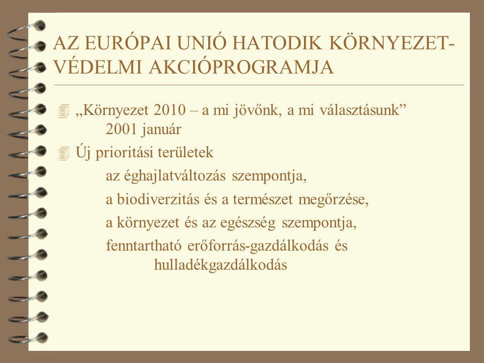 """AZ EURÓPAI UNIÓ HATODIK KÖRNYEZET- VÉDELMI AKCIÓPROGRAMJA 4 """"Környezet 2010 – a mi jövőnk, a mi választásunk"""" 2001 január 4 Új prioritási területek az"""