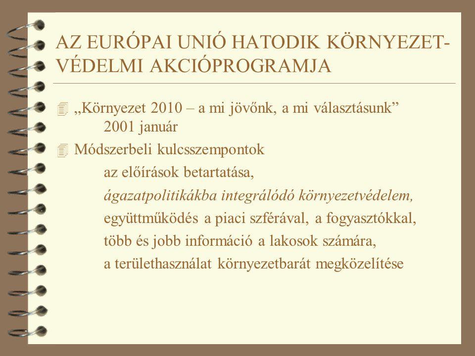 """AZ EURÓPAI UNIÓ HATODIK KÖRNYEZET- VÉDELMI AKCIÓPROGRAMJA 4 """"Környezet 2010 – a mi jövőnk, a mi választásunk"""" 2001 január 4 Módszerbeli kulcsszemponto"""