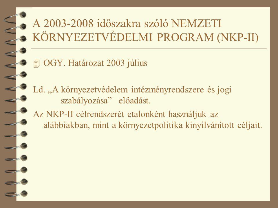 """A 2003-2008 időszakra szóló NEMZETI KÖRNYEZETVÉDELMI PROGRAM (NKP-II) 4 OGY. Határozat 2003 július Ld. """"A környezetvédelem intézményrendszere és jogi"""