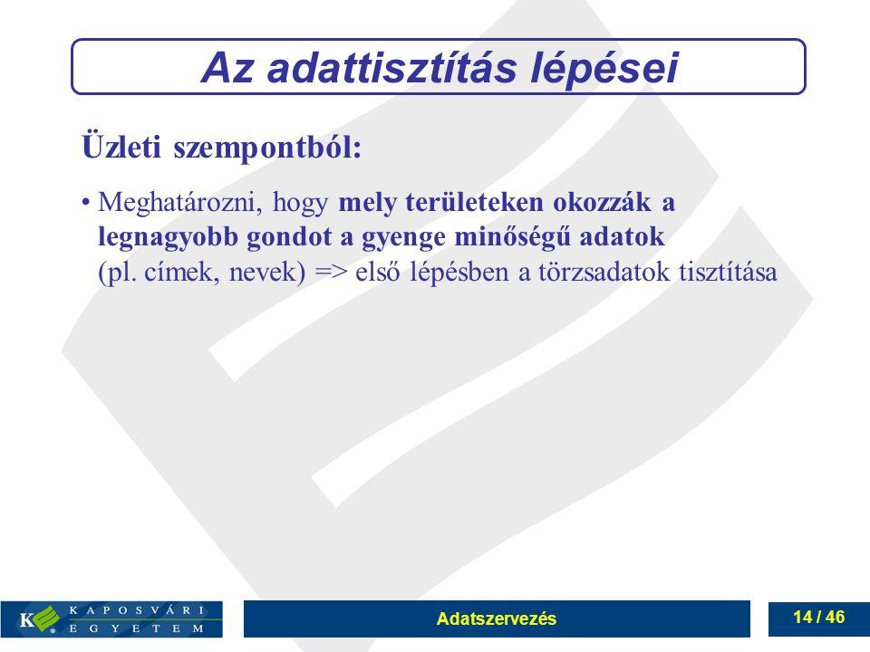 Adatszervezés 14 / 46 Az adattisztítás lépései Üzleti szempontból: Meghatározni, hogy mely területeken okozzák a legnagyobb gondot a gyenge minőségű a